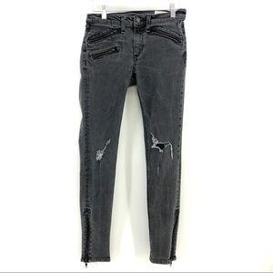 Rag & Bone Skinny Jeans 27 Black Moto Distressed
